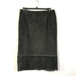 Vintage Cuir Zebra Leather Brown Boho Fringe Skirt